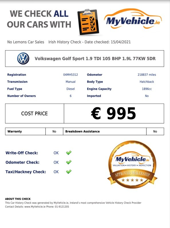 2004 Volkswagen Golf 1.9 TDI