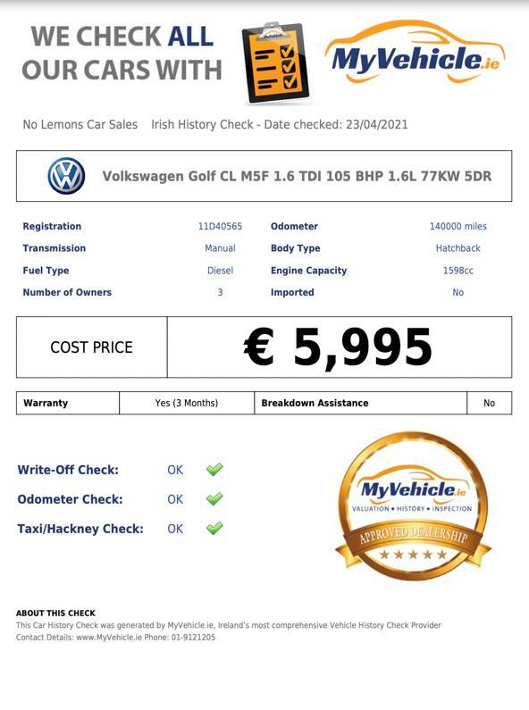 2011 Volkswagen Golf TDI 1.6L