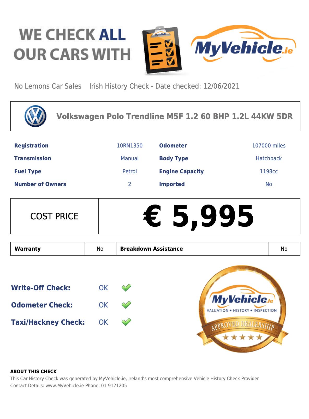 Volkswagen Polo Trendline 2010 1.2